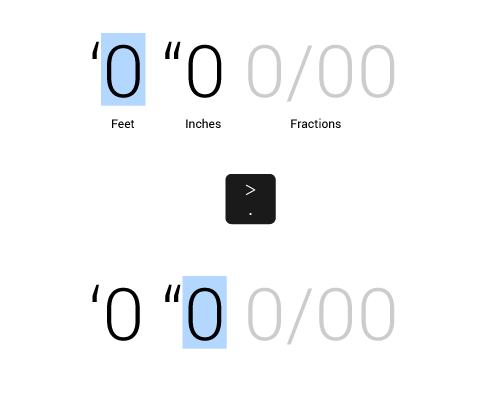 Input field for Feet, Inch Fractions